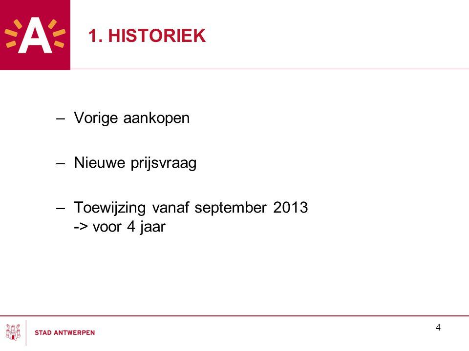 4 1. HISTORIEK –Vorige aankopen –Nieuwe prijsvraag –Toewijzing vanaf september 2013 -> voor 4 jaar