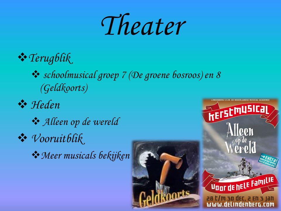 Theater  Terugblik  schoolmusical groep 7 (De groene bosroos) en 8 (Geldkoorts)  Heden  Alleen op de wereld  Vooruitblik  Meer musicals bekijken