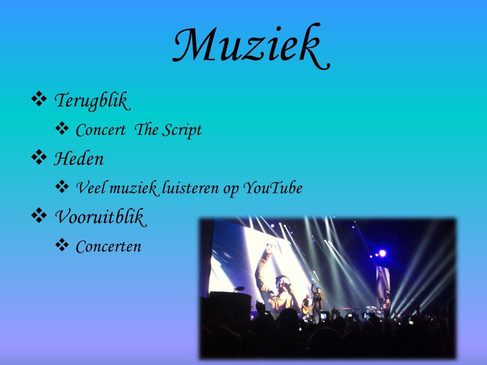 Muziek  Terugblik  Concert The Script  Heden  Veel muziek luisteren op YouTube  Vooruitblik  Concerten