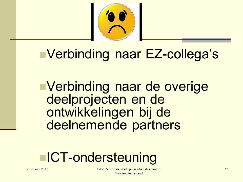 26 maart 2013 Pilot Regionale Werkgeversdienstverlening Midden Gelderland 14 Verbinding naar EZ-collega's Verbinding naar de overige deelprojecten en de ontwikkelingen bij de deelnemende partners ICT-ondersteuning
