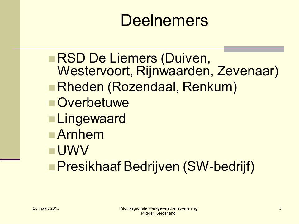 26 maart 2013 Pilot Regionale Werkgeversdienstverlening Midden Gelderland 3 Deelnemers RSD De Liemers (Duiven, Westervoort, Rijnwaarden, Zevenaar) Rheden (Rozendaal, Renkum) Overbetuwe Lingewaard Arnhem UWV Presikhaaf Bedrijven (SW-bedrijf)