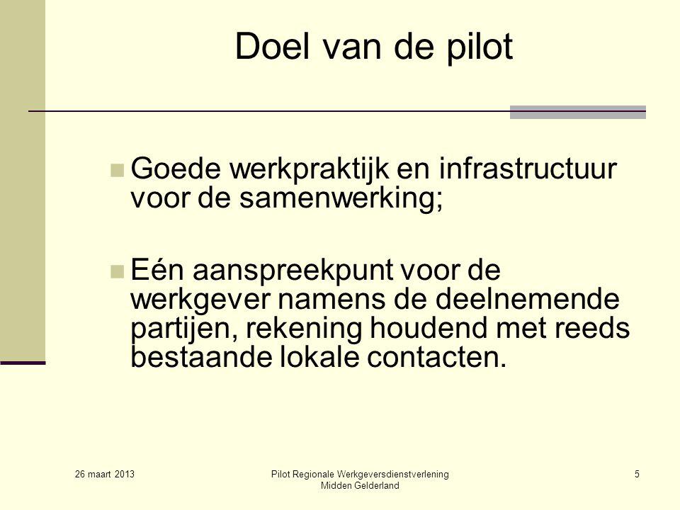 26 maart 2013 Pilot Regionale Werkgeversdienstverlening Midden Gelderland 5 Doel van de pilot Goede werkpraktijk en infrastructuur voor de samenwerking; Eén aanspreekpunt voor de werkgever namens de deelnemende partijen, rekening houdend met reeds bestaande lokale contacten.