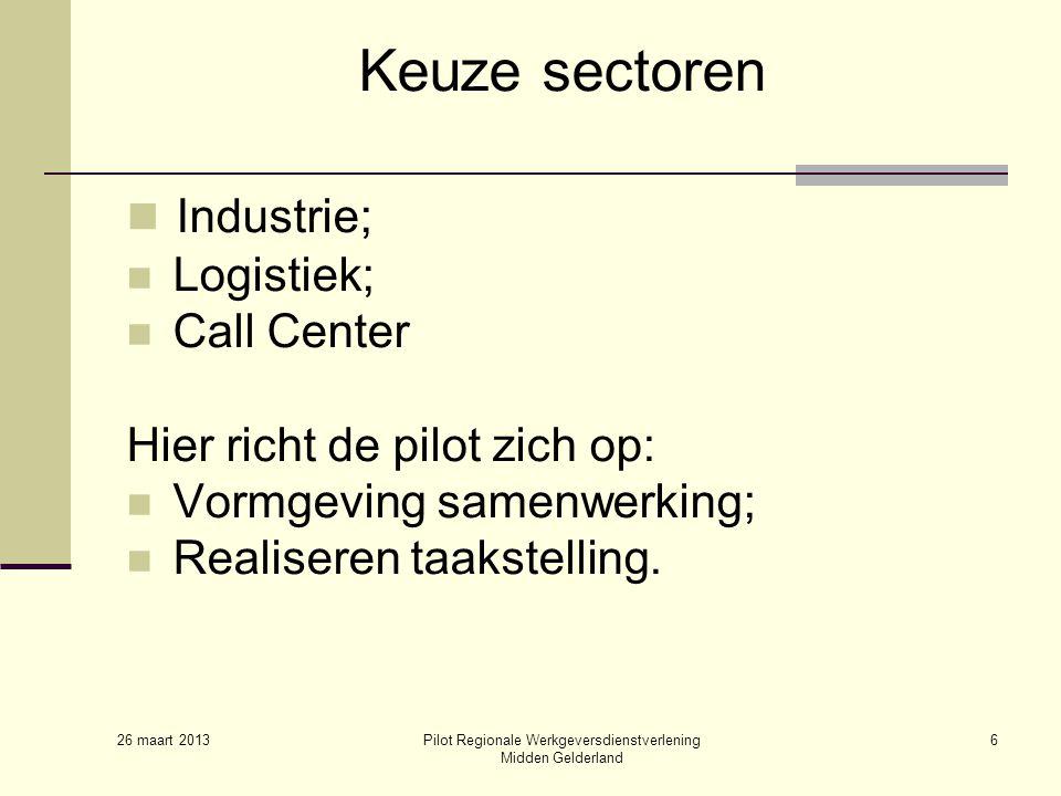 26 maart 2013 Pilot Regionale Werkgeversdienstverlening Midden Gelderland 6 Keuze sectoren Industrie; Logistiek; Call Center Hier richt de pilot zich op: Vormgeving samenwerking; Realiseren taakstelling.