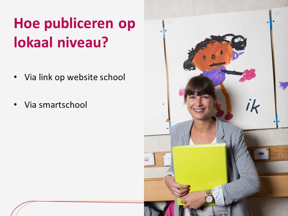 Hoe publiceren op lokaal niveau? Via link op website school Via smartschool