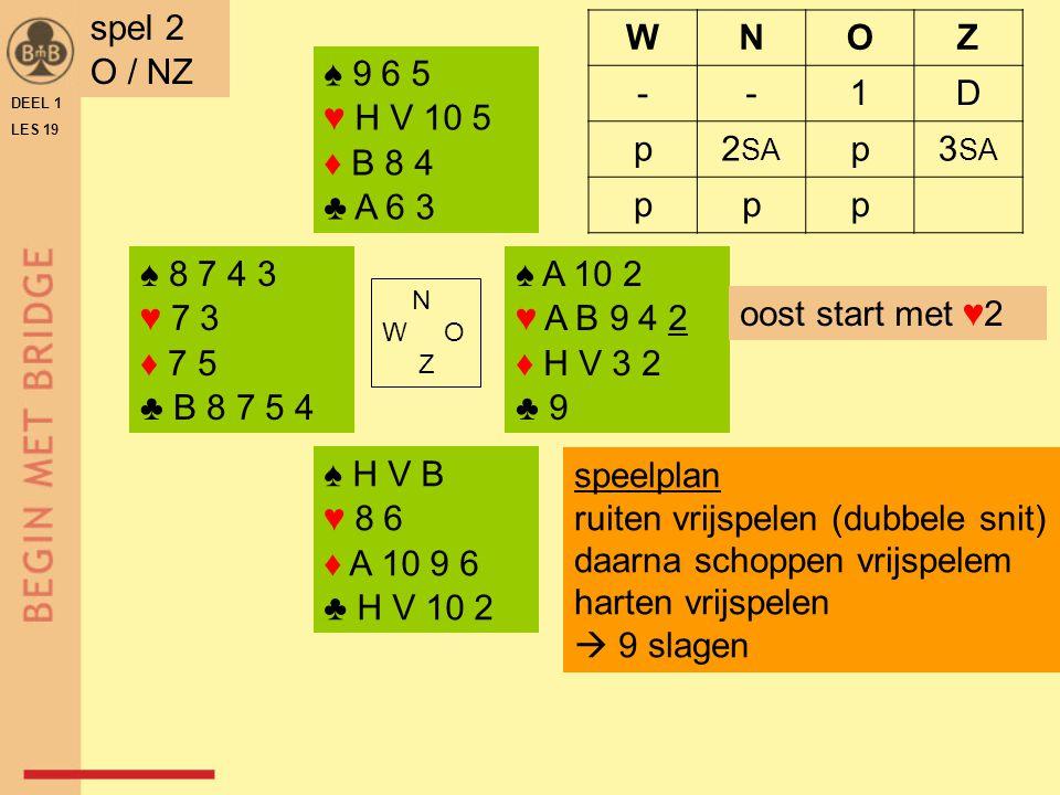 ♠ A V 10 ♥ A 8 3 2 ♦ H B 10 4 ♣ 7 2 ♠ 9 6 3 ♥ B 10 6 4 ♦ A 3 2 ♣ B 9 8 N W O Z ♠ H 8 5 2 ♥ V 7 ♦ 9 8 5 ♣ A H V 6 ♠ B 7 4 ♥ H 9 5 ♦ V 7 6 ♣ 10 5 4 3 DEEL 1 LES 19 spel 3 Z / OW WNOZ --1♣1♣ D2♣2♣2♥2♥a.p.
