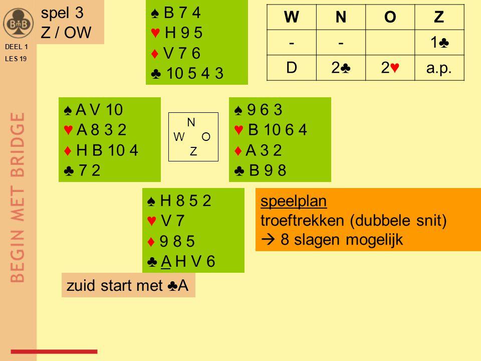 ♠ B 2 ♥ A B 8 5 2 ♦ A9 ♣ V B 9 6 ♠ 10 6 ♥ 10 7 3 ♦ B 10 5 4 ♣ 7 5 3 2 N W O Z ♠ H V 8 7 5 4 ♥ H V 9 ♦ V 8 3 ♣ 4 ♠ A 9 3 ♥ 6 4 ♦ H 7 6 2 ♣ A H 10 8 DEEL 1 LES 19 spel 4 W / A WNOZ 1♥1♥Dp4♠4♠ a.p.