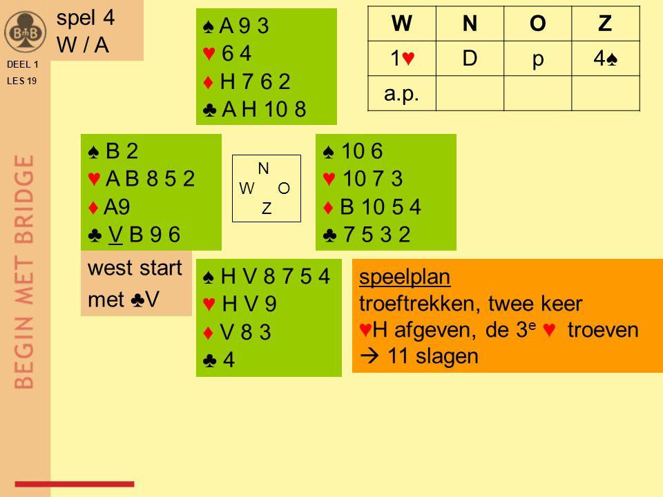 ♠ B 2 ♥ A B 8 5 2 ♦ A9 ♣ V B 9 6 ♠ 10 6 ♥ 10 7 3 ♦ B 10 5 4 ♣ 7 5 3 2 N W O Z ♠ H V 8 7 5 4 ♥ H V 9 ♦ V 8 3 ♣ 4 ♠ A 9 3 ♥ 6 4 ♦ H 7 6 2 ♣ A H 10 8 DEE