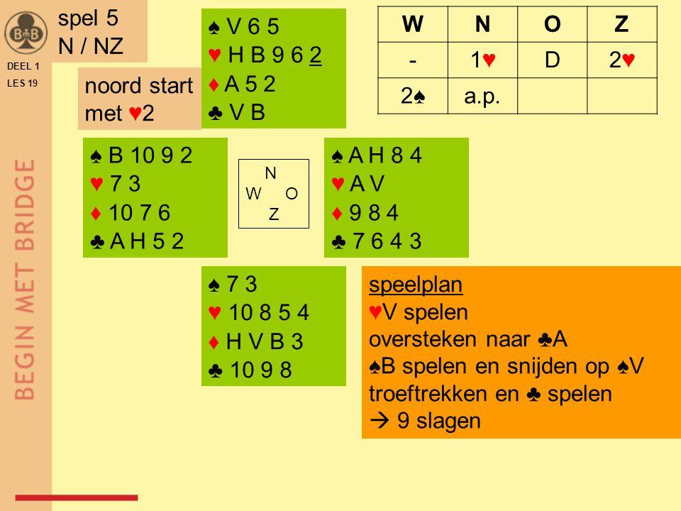 ♠ 10 9 4 ♥ V 4 ♦ V 9 5 2 ♣ V 10 8 5 ♠ 8 5 ♥ A B 9 3 ♦ A H B 8 6 ♣ B 6 N W O Z ♠ H B 3 2 ♥ H 10 7 5 ♦ 4 ♣ A H 7 3 ♠ A V 7 6 ♥ 8 6 2 ♦ 10 7 3 ♣ 9 4 2 DEEL 1 LES 19 spel 6 O / OW WNOZ --1♦1♦D 2♦2♦2♠2♠a.p.