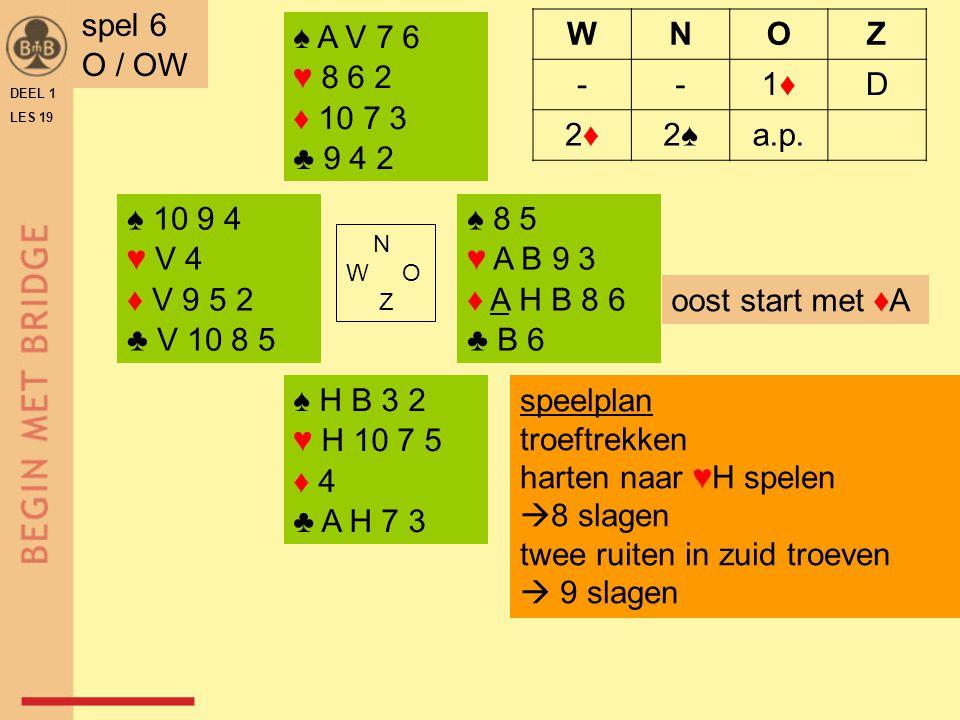 ♠ A V 7 ♥ H V 4 2 ♦ A H B 2 ♣ 9 7 ♠ 9 6 5 ♥ B 6 3 ♦ V 10 4 ♣ H B 8 3 N W O Z ♠ H 10 2 ♥ A5 ♦ 7 6 5 3 ♣ A V 6 5 ♠ B 8 4 3 ♥ 10 9 8 7 ♦ 9 8 ♣ 10 4 2 DEEL 1 LES 19 spel 7 Z / A WNOZ ---1 Dp1 SA p 3 SA ppp speelplan schoppen snijden vier ruitenslagen maken harten vrijspelen  9 slagen zuid start met ♣5