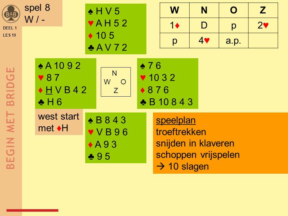 ♠ A 10 9 2 ♥ 8 7 ♦ H V B 4 2 ♣ H 6 ♠ 7 6 ♥ 10 3 2 ♦ 8 7 6 ♣ B 10 8 4 3 N W O Z ♠ B 8 4 3 ♥ V B 9 6 ♦ A 9 3 ♣ 9 5 ♠ H V 5 ♥ A H 5 2 ♦ 10 5 ♣ A V 7 2 DE