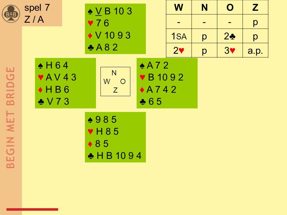 ♠ H 6 4 ♥ A V 4 3 ♦ H B 6 ♣ V 7 3 ♠ A 7 2 ♥ B 10 9 2 ♦ A 7 4 2 ♣ 6 5 N W O Z ♠ 9 8 5 ♥ H 8 5 ♦ 8 5 ♣ H B 10 9 4 ♠ V B 10 3 ♥ 7 6 ♦ V 10 9 3 ♣ A 8 2 spel 7 Z / A WNOZ ---p 1 SA p2♣2♣p 2♥2♥p3♥3♥a.p.