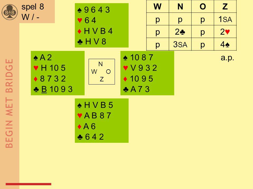 ♠ A 2 ♥ H 10 5 ♦ 8 7 3 2 ♣ B 10 9 3 ♠ 10 8 7 ♥ V 9 3 2 ♦ 10 9 5 ♣ A 7 3 N W O Z ♠ H V B 5 ♥ A B 8 7 ♦ A 6 ♣ 6 4 2 ♠ 9 6 4 3 ♥ 6 4 ♦ H V B 4 ♣ H V 8 a.p.