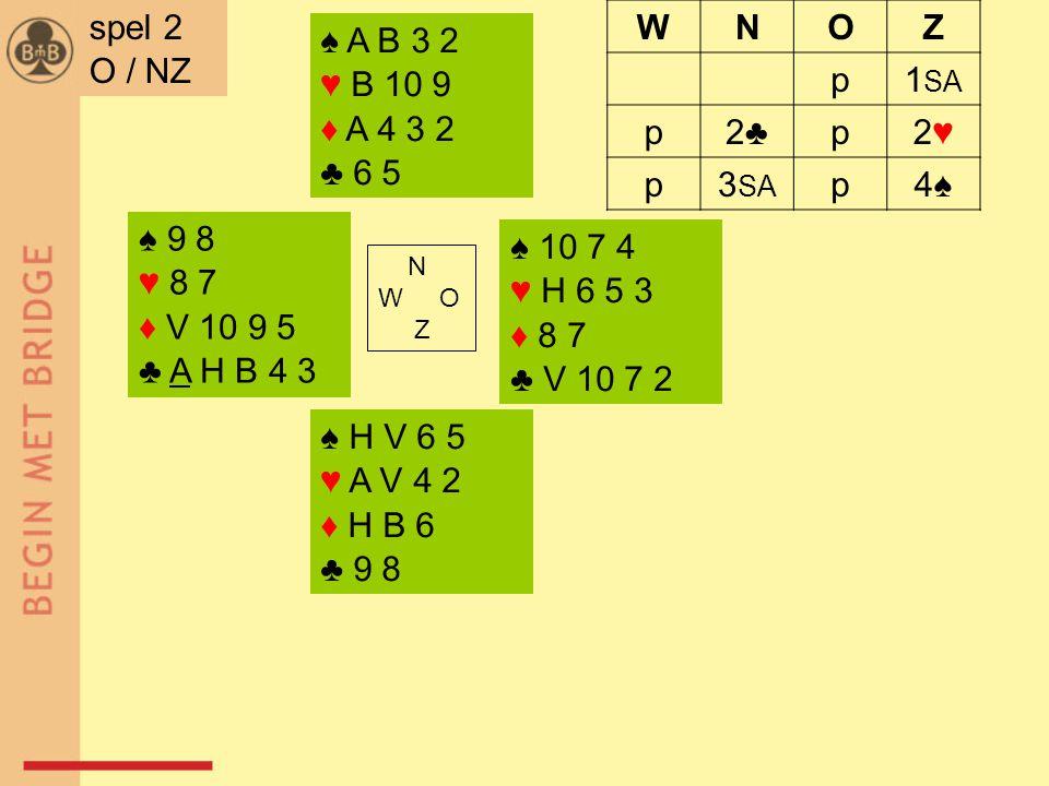 ♠ 9 8 ♥ 8 7 ♦ V 10 9 5 ♣ A H B 4 3 ♠ 10 7 4 ♥ H 6 5 3 ♦ 8 7 ♣ V 10 7 2 N W O Z ♠ H V 6 5 ♥ A V 4 2 ♦ H B 6 ♣ 9 8 ♠ A B 3 2 ♥ B 10 9 ♦ A 4 3 2 ♣ 6 5 spel 2 O / NZ WNOZ p1 SA p2♣2♣p2♥2♥ p3 SA p4♠4♠
