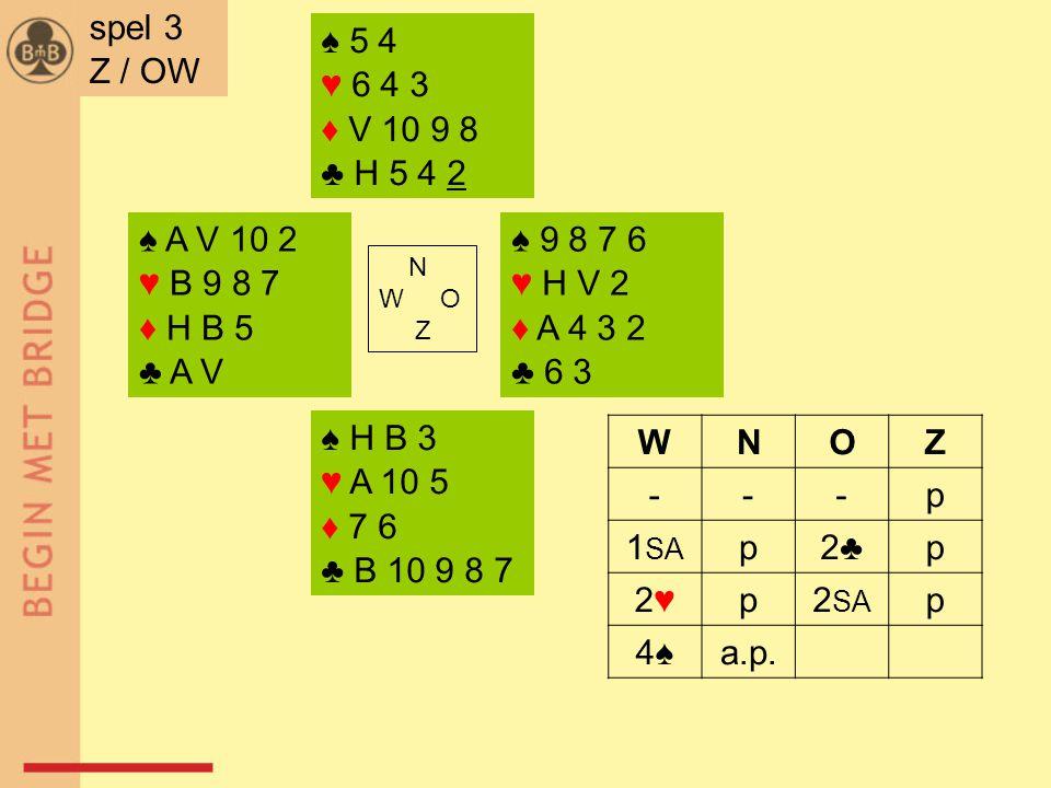 ♠ A V 10 2 ♥ B 9 8 7 ♦ H B 5 ♣ A V ♠ 9 8 7 6 ♥ H V 2 ♦ A 4 3 2 ♣ 6 3 N W O Z ♠ H B 3 ♥ A 10 5 ♦ 7 6 ♣ B 10 9 8 7 ♠ 5 4 ♥ 6 4 3 ♦ V 10 9 8 ♣ H 5 4 2 spel 3 Z / OW WNOZ ---p 1 SA p2♣2♣p 2♥2♥p2 SA p 4♠a.p.