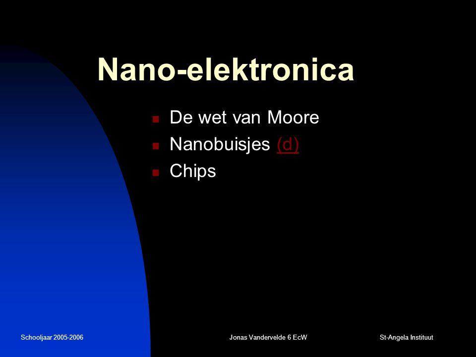 Schooljaar 2005-2006Jonas Vandervelde 6 EcW St-Angela Instituut Nano-microscopie Scanning tunneling microscopie (d)(d)  Overlappende golffuncties  Constante tunnelstroom  Geleidend object Atomic force microscopie  Kracht ipv tunnelstroom  Doorbuigen van een bladveer