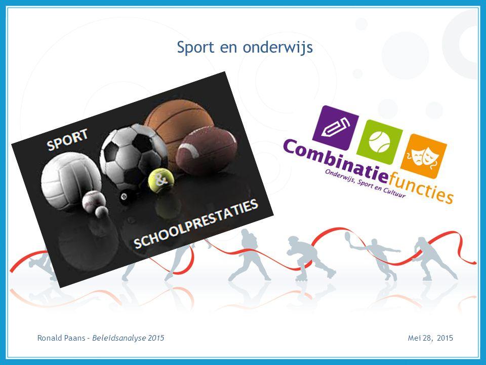 Sport en onderwijs Mei 28, 2015Ronald Paans – Beleidsanalyse 2015