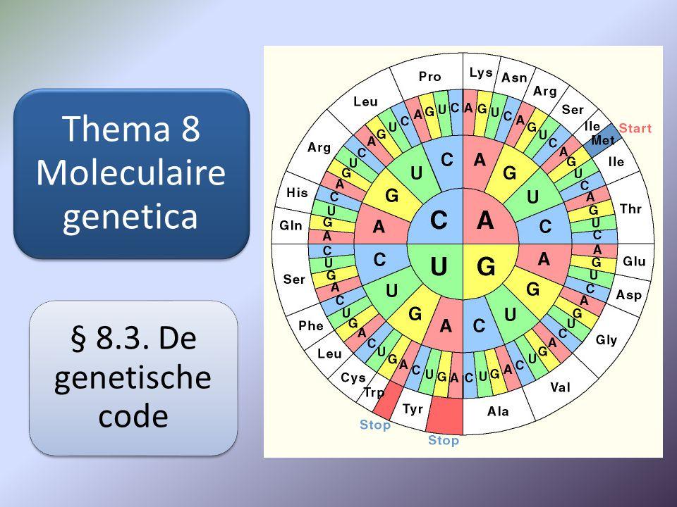 Thema 8 Moleculaire genetica § 8.3. De genetische code