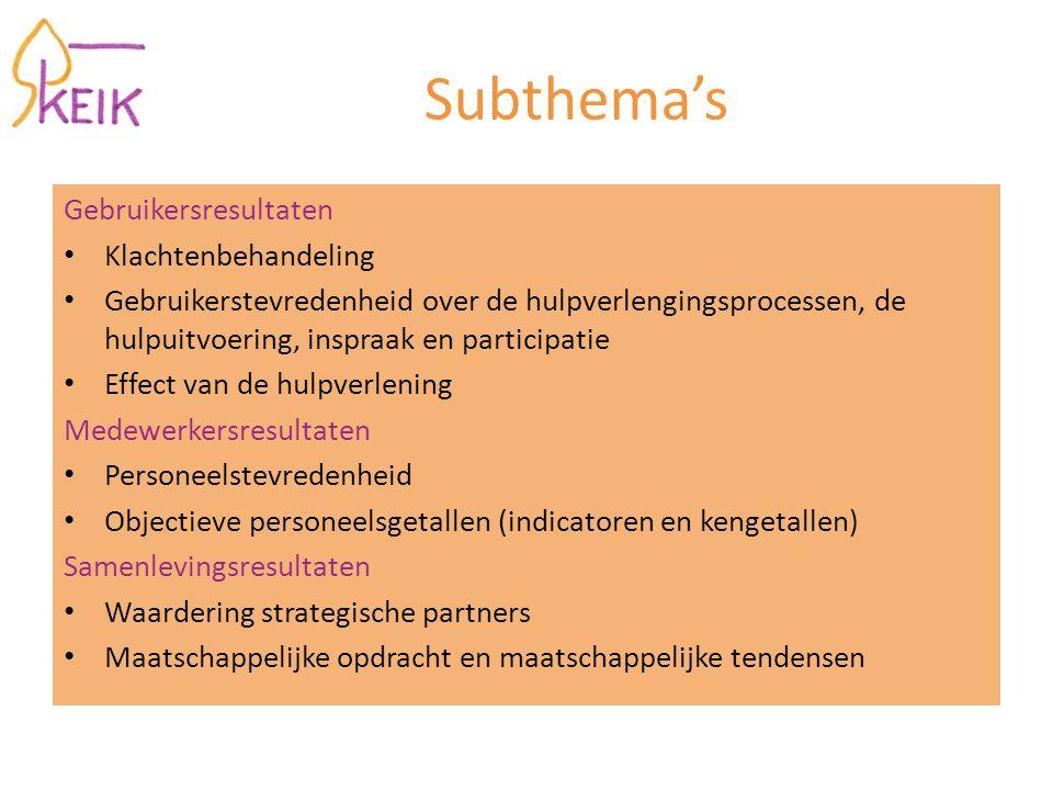 Subthema's Gebruikersresultaten Klachtenbehandeling Gebruikerstevredenheid over de hulpverlengingsprocessen, de hulpuitvoering, inspraak en participat