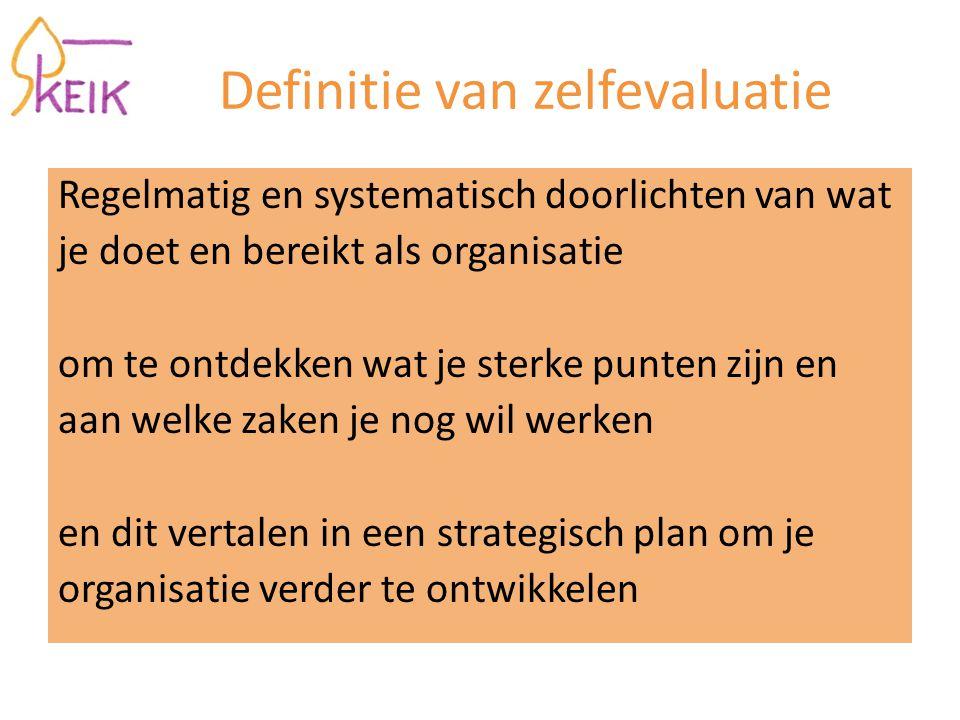 Definitie van zelfevaluatie Regelmatig en systematisch doorlichten van wat je doet en bereikt als organisatie om te ontdekken wat je sterke punten zijn en aan welke zaken je nog wil werken en dit vertalen in een strategisch plan om je organisatie verder te ontwikkelen
