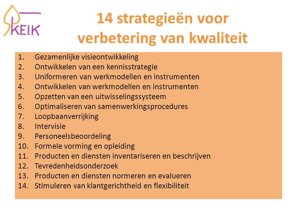 14 strategieën voor verbetering van kwaliteit 1.Gezamenlijke visieontwikkeling 2.Ontwikkelen van een kennisstrategie 3.Uniformeren van werkmodellen en instrumenten 4.Ontwikkelen van werkmodellen en instrumenten 5.Opzetten van een uitwisselingssysteem 6.Optimaliseren van samenwerkingsprocedures 7.Loopbaanverrijking 8.Intervisie 9.Personeelsbeoordeling 10.Formele vorming en opleiding 11.Producten en diensten inventariseren en beschrijven 12.Tevredenheidsonderzoek 13.Producten en diensten normeren en evalueren 14.Stimuleren van klantgerichtheid en flexibiliteit