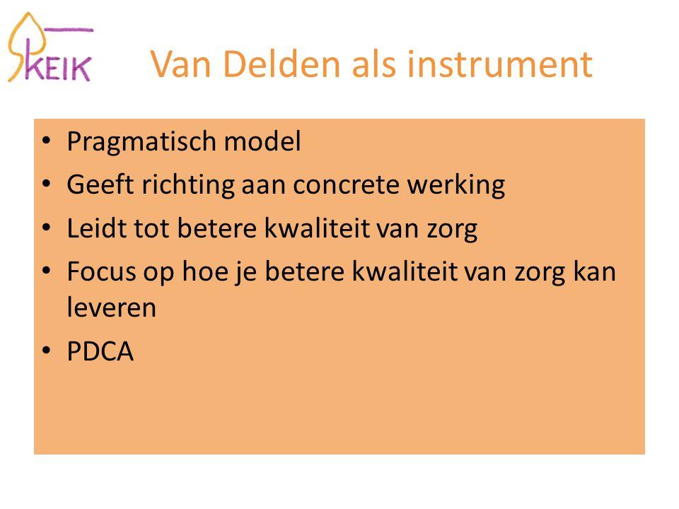 Van Delden als instrument Pragmatisch model Geeft richting aan concrete werking Leidt tot betere kwaliteit van zorg Focus op hoe je betere kwaliteit van zorg kan leveren PDCA