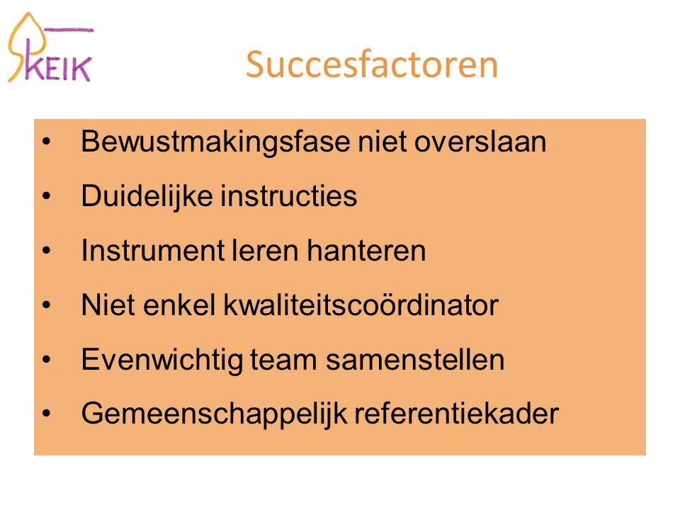 Succesfactoren Bewustmakingsfase niet overslaan Duidelijke instructies Instrument leren hanteren Niet enkel kwaliteitscoördinator Evenwichtig team samenstellen Gemeenschappelijk referentiekader