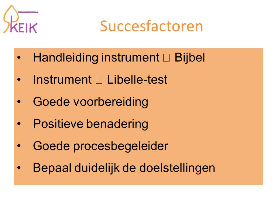 Succesfactoren Handleiding instrument  Bijbel Instrument  Libelle-test Goede voorbereiding Positieve benadering Goede procesbegeleider Bepaal duidelijk de doelstellingen