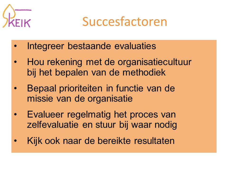 Succesfactoren Integreer bestaande evaluaties Hou rekening met de organisatiecultuur bij het bepalen van de methodiek Bepaal prioriteiten in functie v