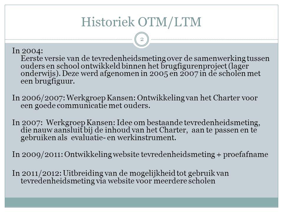 Historiek OTM/LTM In 2004: Eerste versie van de tevredenheidsmeting over de samenwerking tussen ouders en school ontwikkeld binnen het brugfigurenproject (lager onderwijs).