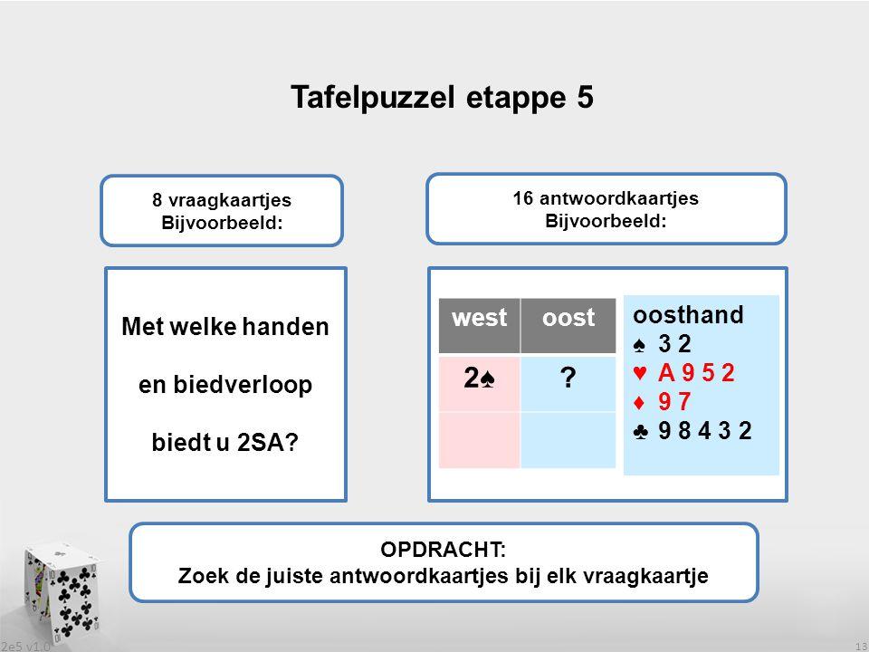 2e5 v1.0 13 Tafelpuzzel etappe 5 OPDRACHT: Zoek de juiste antwoordkaartjes bij elk vraagkaartje 8 vraagkaartjes Bijvoorbeeld: 16 antwoordkaartjes Bijvoorbeeld: Met welke handen en biedverloop biedt u 2SA.