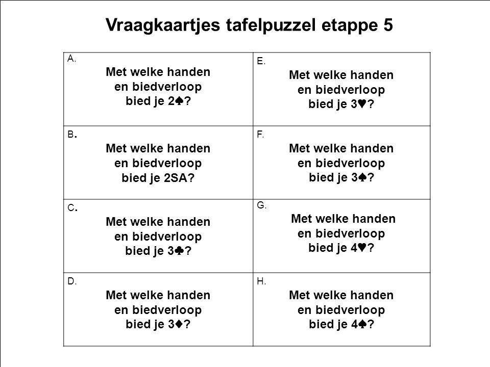 2e5 v1.0 16 Vraagkaartjes tafelpuzzel etappe 5 A. Met welke handen en biedverloop bied je 2 ♠ .