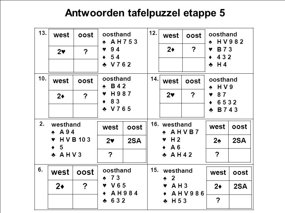 2e5 v1.0 17 Antwoorden tafelpuzzel etappe 5 West oosthand ♠A H 7 5 3 ♥9 4 ♦5 4 ♣V 7 6 2 westoost 2♥2♥.