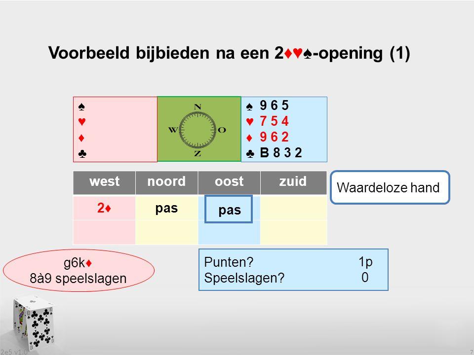 2e5 v1.0 7 Voorbeeld bijbieden na een 2♦♥♠-opening (1) westnoordoostzuid 2♦2♦pas ♠♥♦♣♠♥♦♣ ♠♥♦♣♠♥♦♣ Punten.