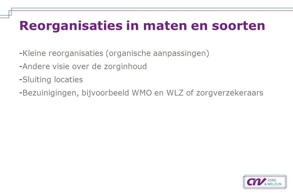 Reorganisaties in maten en soorten -Kleine reorganisaties (organische aanpassingen) -Andere visie over de zorginhoud -Sluiting locaties -Bezuinigingen, bijvoorbeeld WMO en WLZ of zorgverzekeraars
