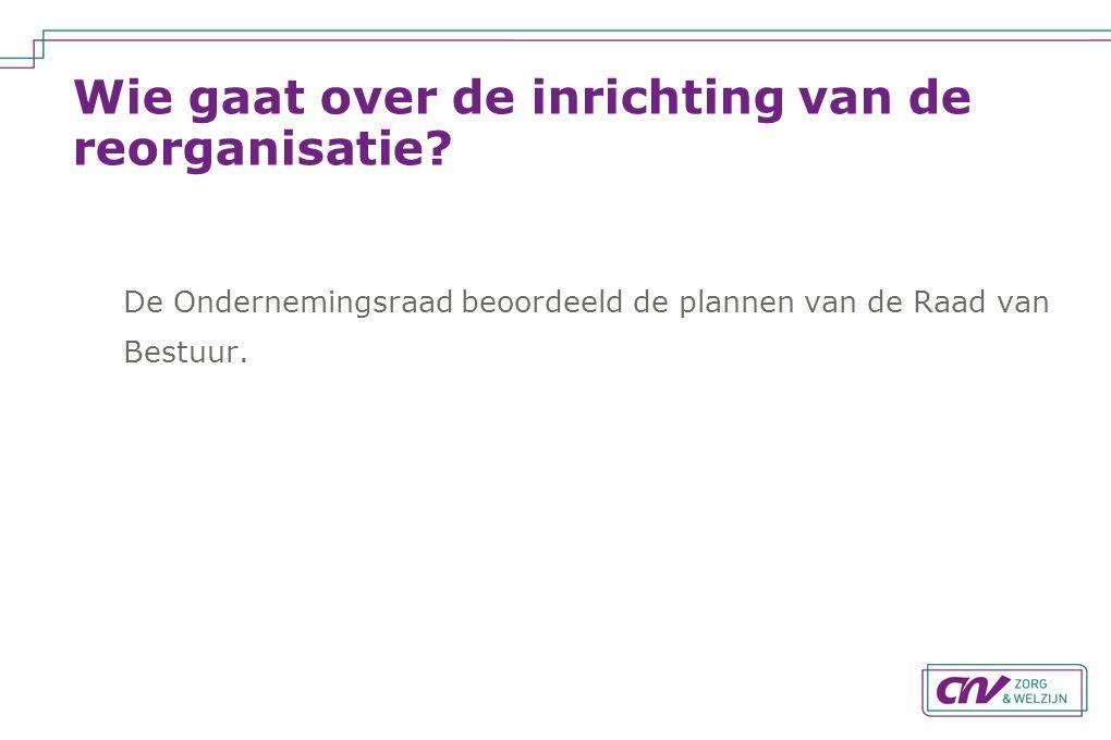 Wie gaat over de inrichting van de reorganisatie? De Ondernemingsraad beoordeeld de plannen van de Raad van Bestuur.