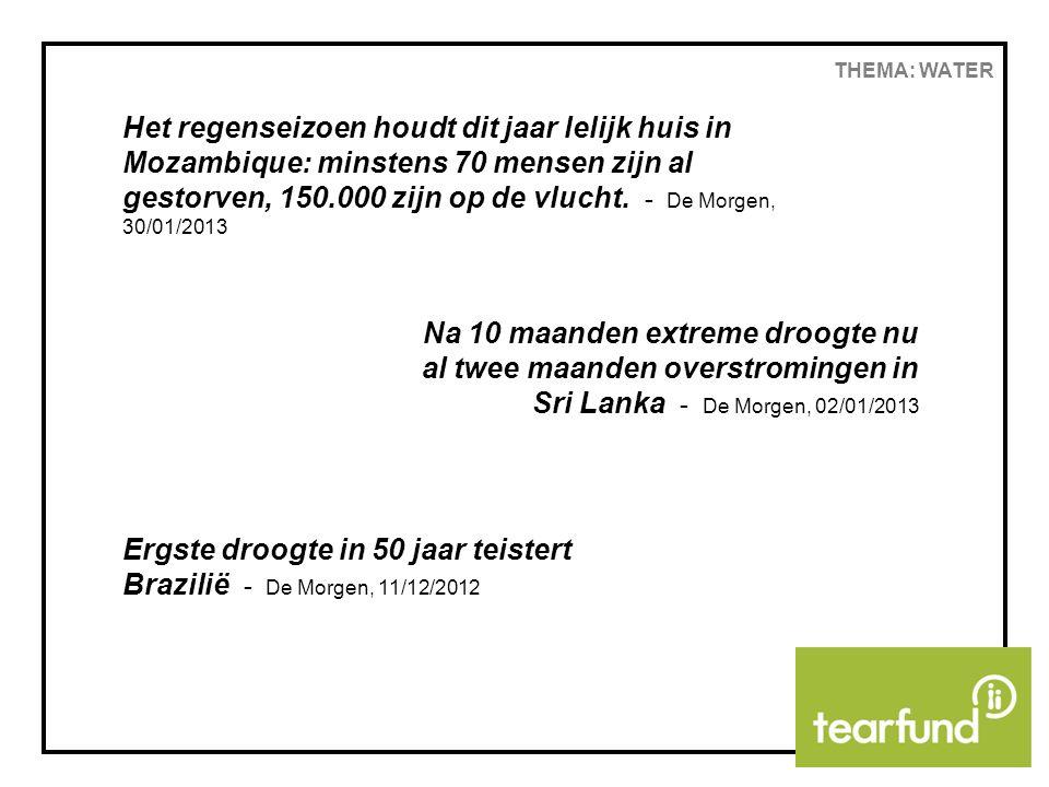 THEMA: WATER WATERPOMPEN IN MAHATSARA Tearfund wil SIM Madagaskar ondersteunen bij het sensibiliseren van de dorpen rond het gebruik en onderhoud van de waterpompen in hun dorp, en bij het verder installeren van de waterpompen (300 euro per pomp) Doen jullie mee?