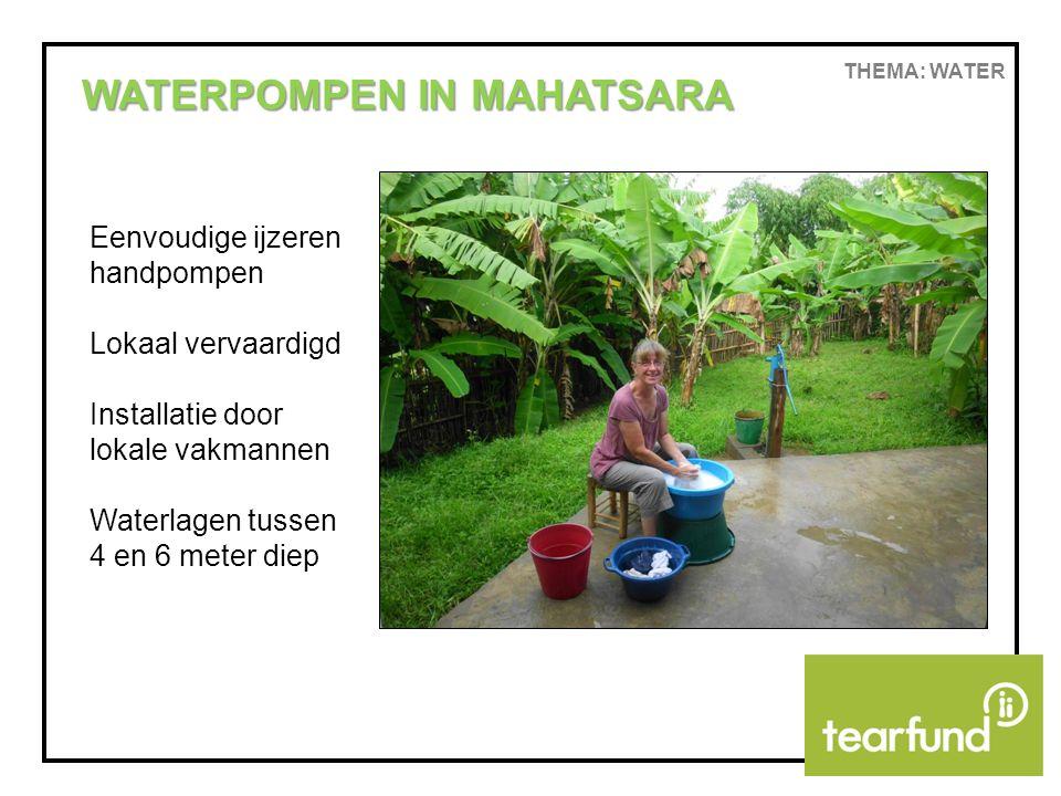 THEMA: WATER WATERPOMPEN IN MAHATSARA Eenvoudige ijzeren handpompen Lokaal vervaardigd Installatie door lokale vakmannen Waterlagen tussen 4 en 6 meter diep