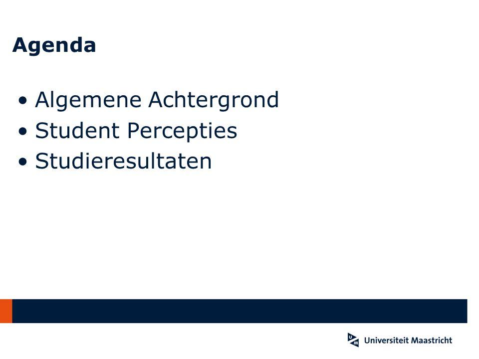 Agenda Algemene Achtergrond Student Percepties Studieresultaten