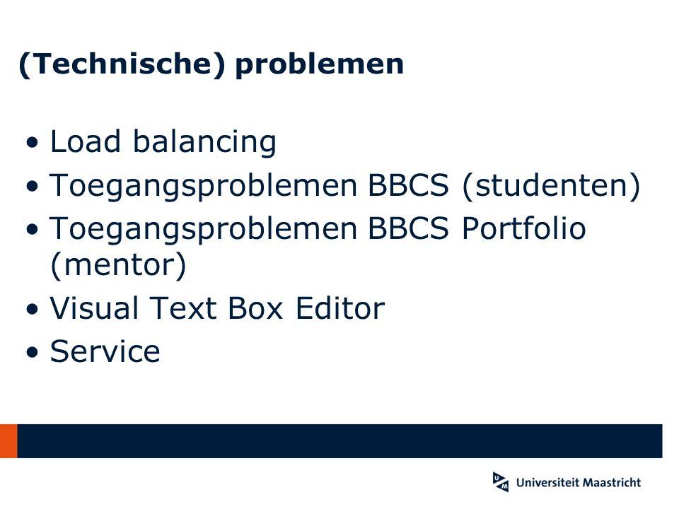 (Technische) problemen Load balancing Toegangsproblemen BBCS (studenten) Toegangsproblemen BBCS Portfolio (mentor) Visual Text Box Editor Service