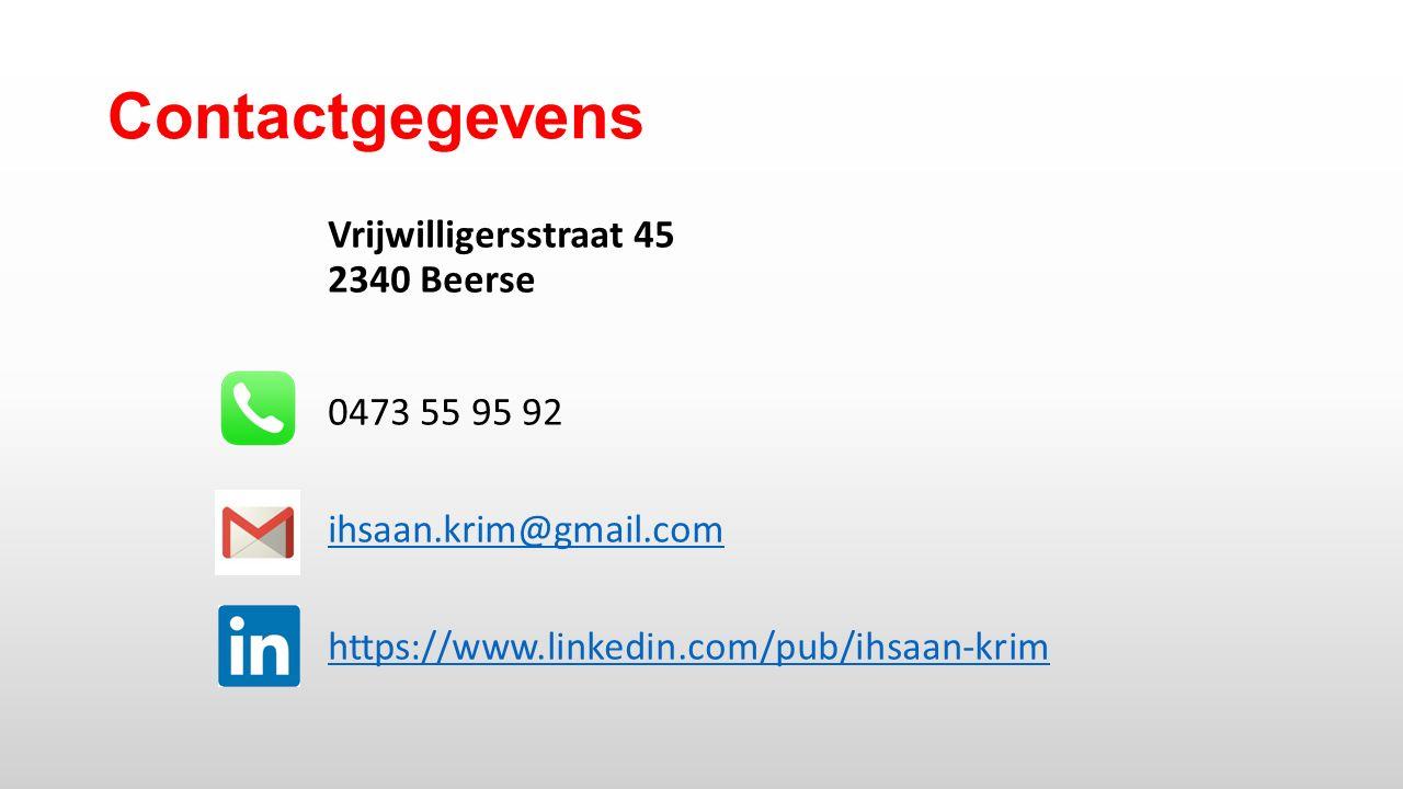 Contactgegevens Vrijwilligersstraat 45 2340 Beerse 0473 55 95 92 ihsaan.krim@gmail.com https://www.linkedin.com/pub/ihsaan-krim