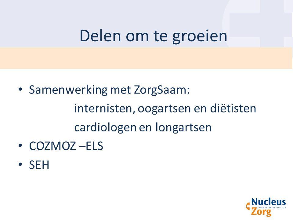 Delen om te groeien Samenwerking met ZorgSaam: internisten, oogartsen en diëtisten cardiologen en longartsen COZMOZ –ELS SEH