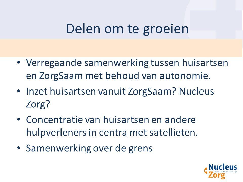 Delen om te groeien Verregaande samenwerking tussen huisartsen en ZorgSaam met behoud van autonomie.