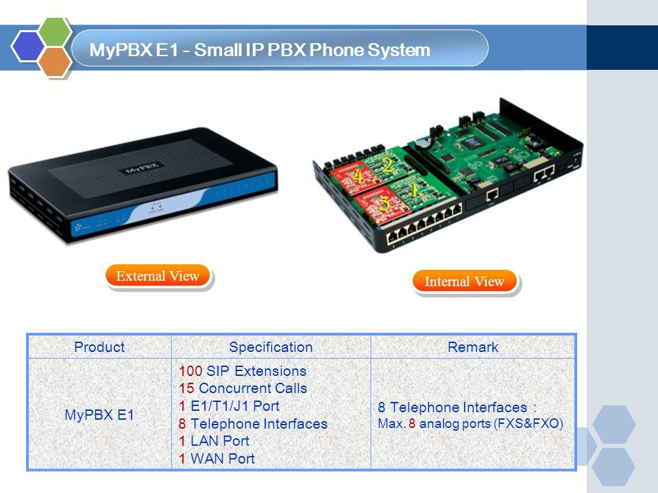 ProductSpecificationRemark MyPBX E1 100 SIP Extensions 15 Concurrent Calls 1 E1/T1/J1 Port 8 Telephone Interfaces 1 LAN Port 1 WAN Port 8 Telephone In