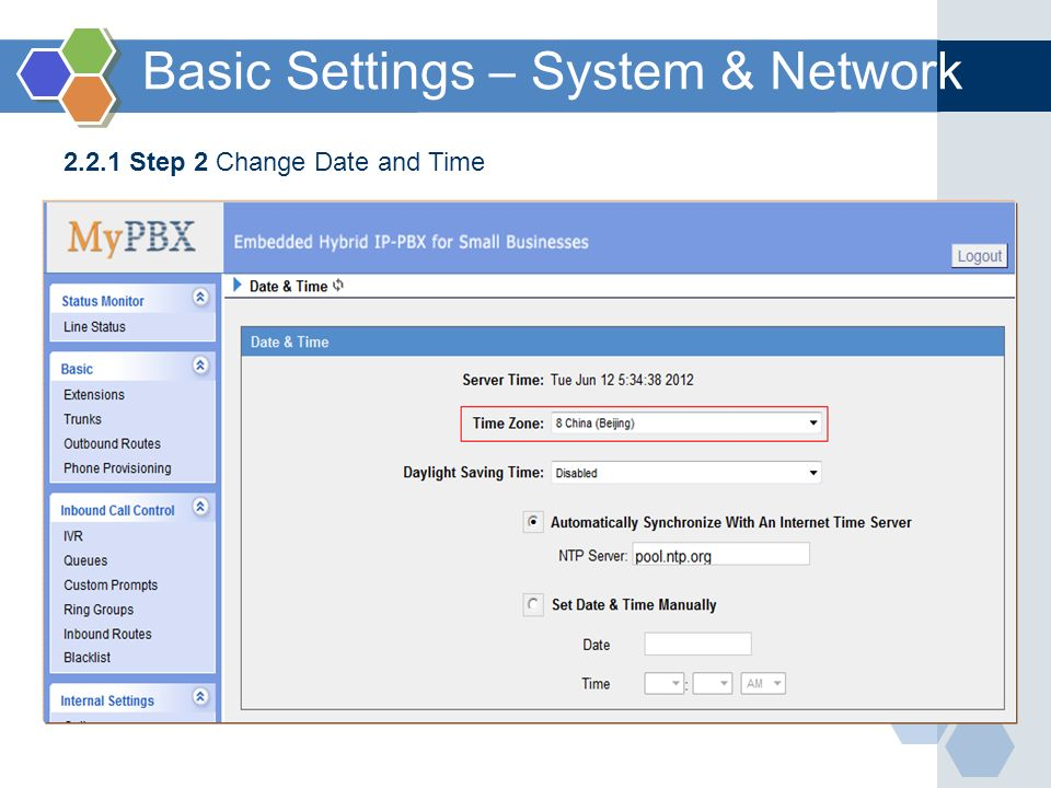 2.2.1 Step 2 Change Date and Time Basic Settings – System & Network