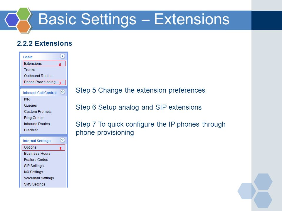 2.2.2 Extensions Step 5 Change the extension preferences Step 6 Setup analog and SIP extensions Step 7 To quick configure the IP phones through phone provisioning Basic Settings – Extensions