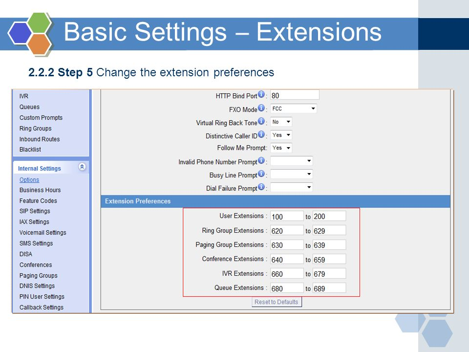 2.2.2 Step 5 Change the extension preferences Basic Settings – Extensions