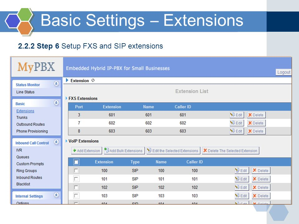 2.2.2 Step 6 Setup FXS and SIP extensions Basic Settings – Extensions