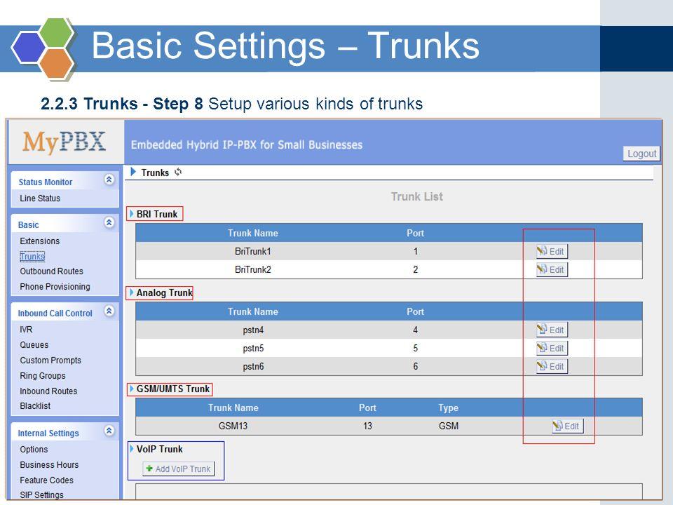 2.2.3 Trunks - Step 8 Setup various kinds of trunks Basic Settings – Trunks