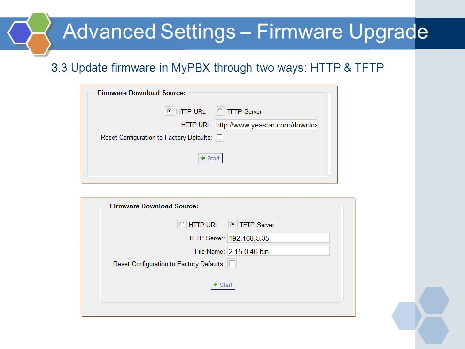 3.3 Update firmware in MyPBX through two ways: HTTP & TFTP Advanced Settings – Firmware Upgrade