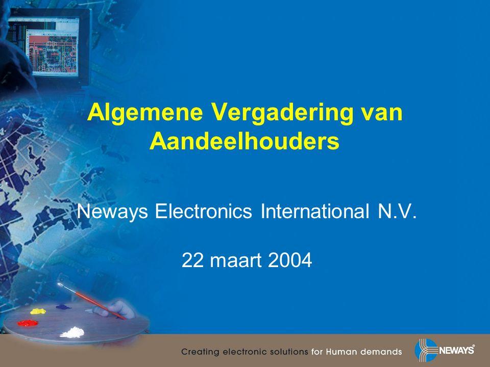 Algemene Vergadering van Aandeelhouders Neways Electronics International N.V. 22 maart 2004